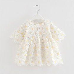 Embroidered Sunflower Lace Dress