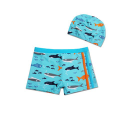 Two Piece Shark Print Swim Trunk & Hat Set
