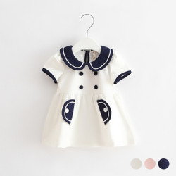 Contrast Button Sailorette Dress