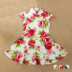 Floral Mandarin Collar Skater Dress
