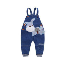 Cartoon Patched Puppy Soft Denim Overalls