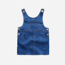 Girls Pocket Denim Dress Overalls