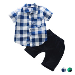 Two Piece Casual Checkered Shirt & Shorts Set
