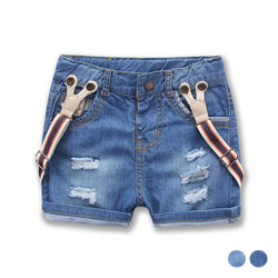Ribbed Suspenders Denim Shorts