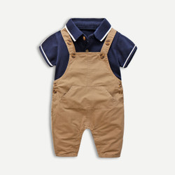 Two Piece Polo Romper Overalls Set