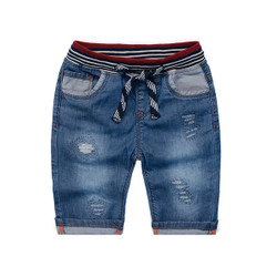 Ribbed Multicolor Denim Short Pants
