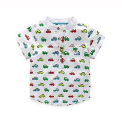 Printed Cars Mandarin Collar Shirt