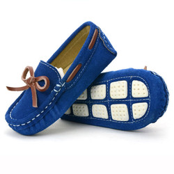 Blue Bow Suede Loafers