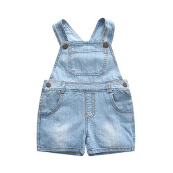 Faded Soft Denim Shorts Overalls