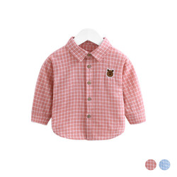 Checkered Bear Collar Long Sleeve Shirt
