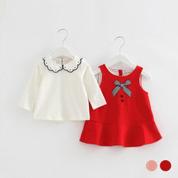 Two Piece Frill Blouse & Ribbon Dress Overalls Set