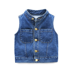 Sleeveless Button Pocket Denim Vest