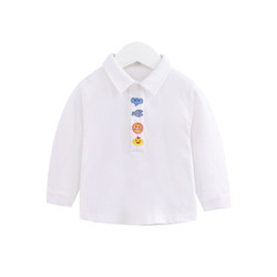 Embroidered Cartoon Button Polo Long Sleeve Tee