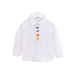 Embroidered Cartoon Button Polo Long Sleeve Tee