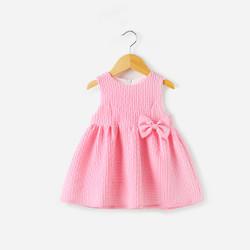 Textured Ribbon Pink Skater Dress