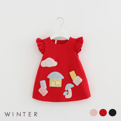 Winter Frill Cartoon Patched Dress
