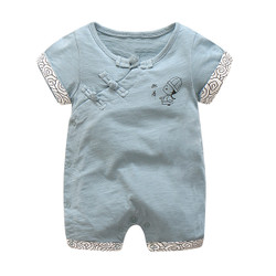 Cartoon Mandarin Trim Blue Romper