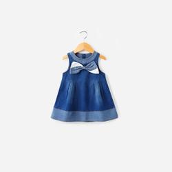 Duo Toned Bow Denim Dress
