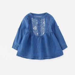 Lace Button Long Sleeves Denim Dress