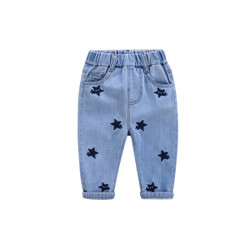 Patched Stars Elastic Band Denim Jeans