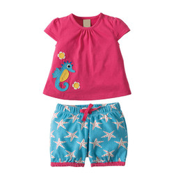 Girls Two Piece Seahorse Shirt & Shorts Set