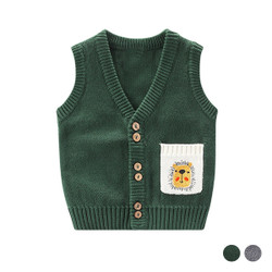 Embroidered Lion Pocket Knit Vest