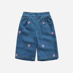 Embroidered Floral Wide Leg Soft Denim Pants