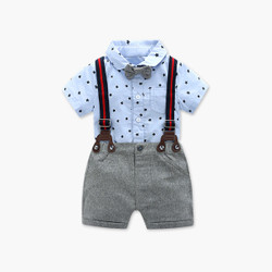 Two Piece Star Romper & Contrast Strap Suspenders Shorts Set