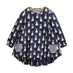 Printed Bunny Long Sleeve Dress