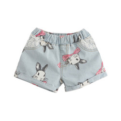 Printed Bunny Lace Pocket Denim Shorts
