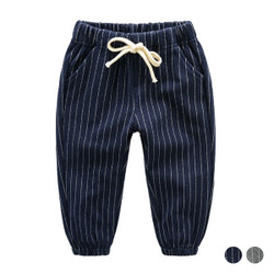 Elastic Band Pinstripe Cuff Pants