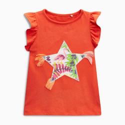 Star Flamingo Frill Sleeve Tee