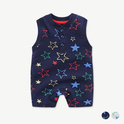 Star Printed Sleeveless Romper