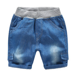 Elastic Waistband Soft Denim Short Pants
