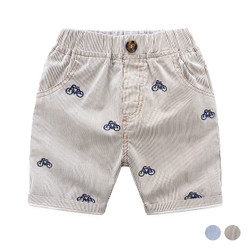Embroidered Bicycle Print Short Pants