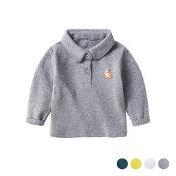 Embroidered Bear Logo Long Sleeve Polo Tee