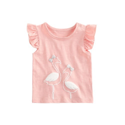 Ribbon Flamingo Frill Sleeve Top