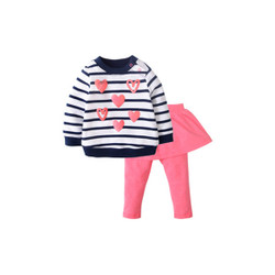Two Piece Stripe Hearts Sweater & Culottes Set