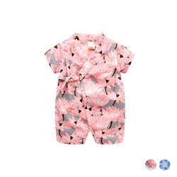 Floral Kimono Wrap Short Sleeve Romper