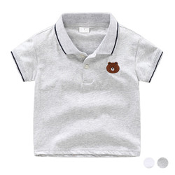 Cartoon Bear Logo Lined Polo Tee