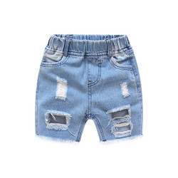 Elastic Band Ribbed Edges Denim Shorts