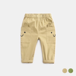 Elastic Band Smile Pocket Pants