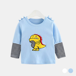 Cartoon Dino Contrast Long Sleeve Shirt