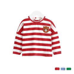 Cartoon Bear Long Sleeve Stripe Tee