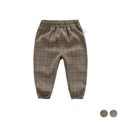 Checkered Elastic Band Cuff Long Pants