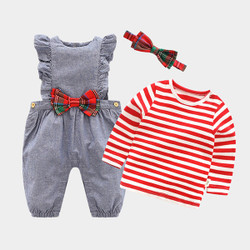 Three Piece Stripe Shirt & Checkered Frill Overalls Set