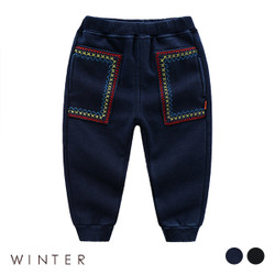 Winter Embroidered Layered Fleece Long Pants