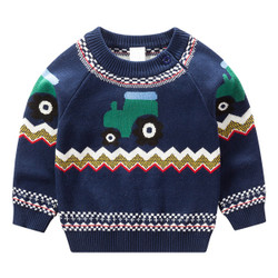 Cartoon Trucks Geometric Knit Sweater