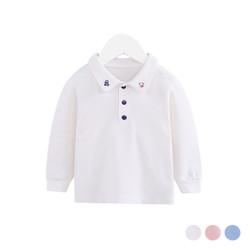 Embroidered Collar Polo Long Sleeve Shirt