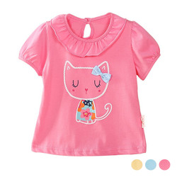 Frill Ribbon Cartoon Cat Tee